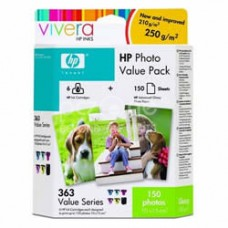Cartus cerneala HP 363 Photo Value Pack/6 Ink Cartridges/150 sht Advanced Photo Paper 10 x 15 cm borderless - Q7966EE