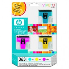 Cartus cerneala HP 363 Ink Cartridges 3-pack with Vivera Inks contains a cyan magenta and yellow ink cartridge CB333EE