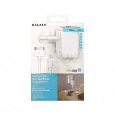 BELKIN Dual USB AC charger for iPhone, iPod, White F8Z240EA